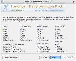 Окно установщика Longhorn Transformation Pack