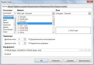 Формат ячеек в LibreOffice Calc
